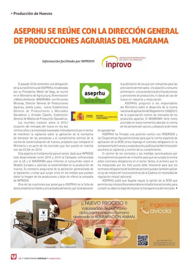 ASEPRHU se reúne con la Dirección General de Producciones Agrarias del MAGRAMA