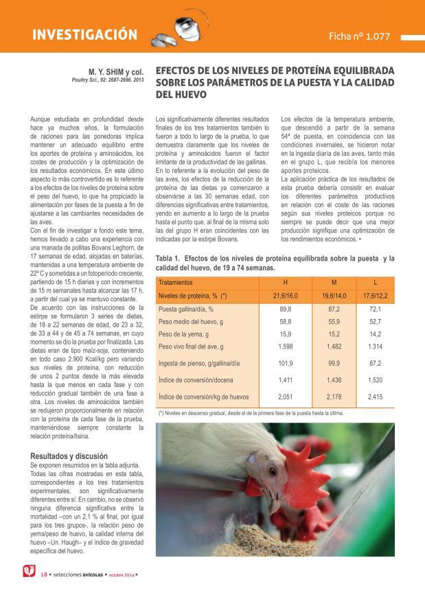 Efectos de los niveles de proteína equilibrada sobre los parámetros