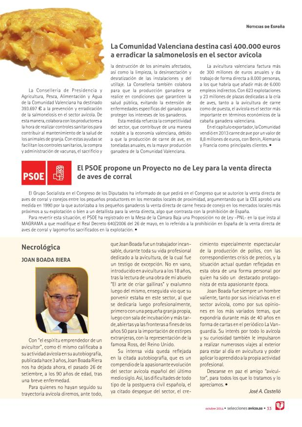 La Comunidad Valenciana destina casi 400.000 euros a erradicar la salmonelosis en el sector avícola