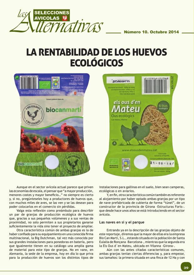 La rentabilidad de los huevos ecológicos