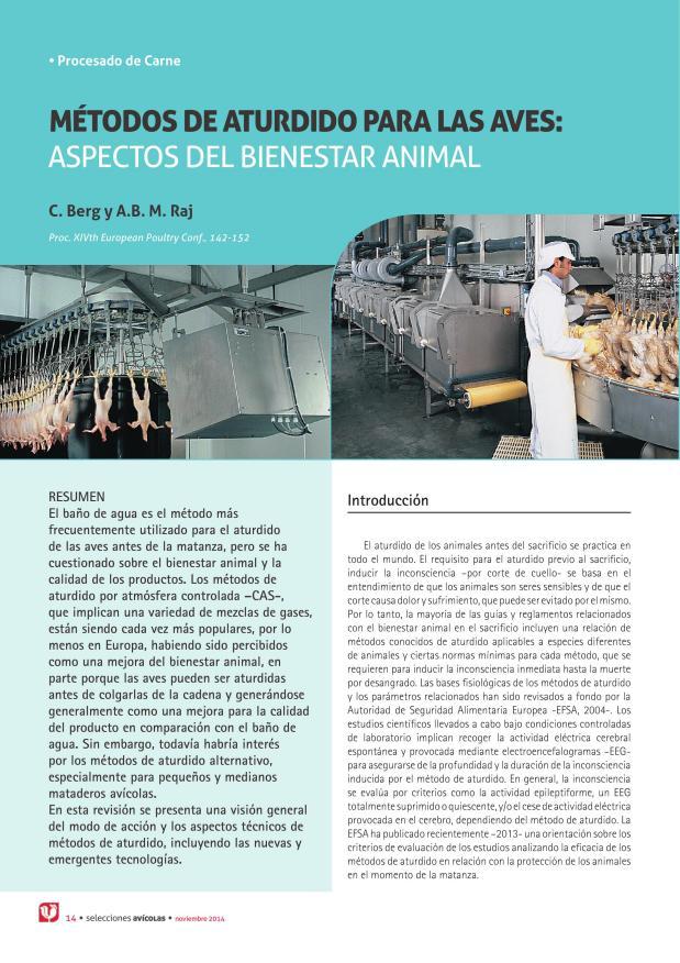 Métodos de aturdido para las aves: aspectos del bienestar animal