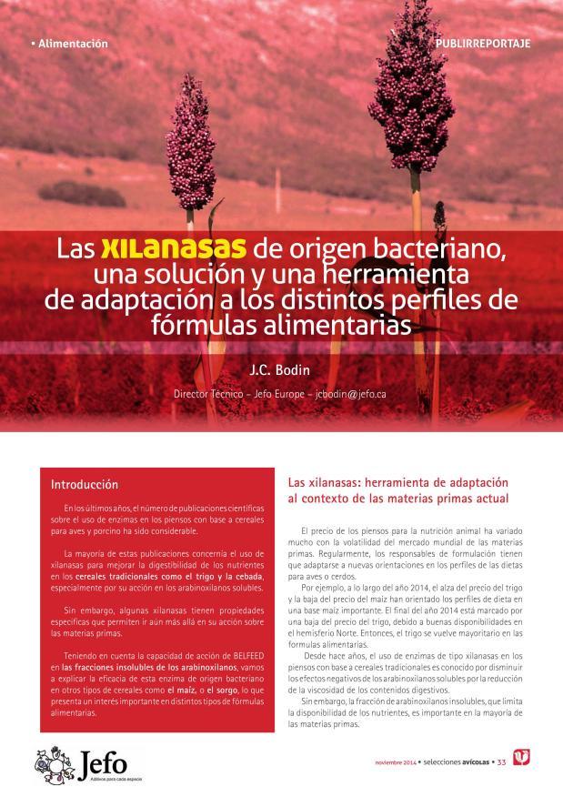 Las xilanasas de origen bacteriano, una solución y una herramienta de adaptación a los distintos perfiles de fórmulas alimentarias