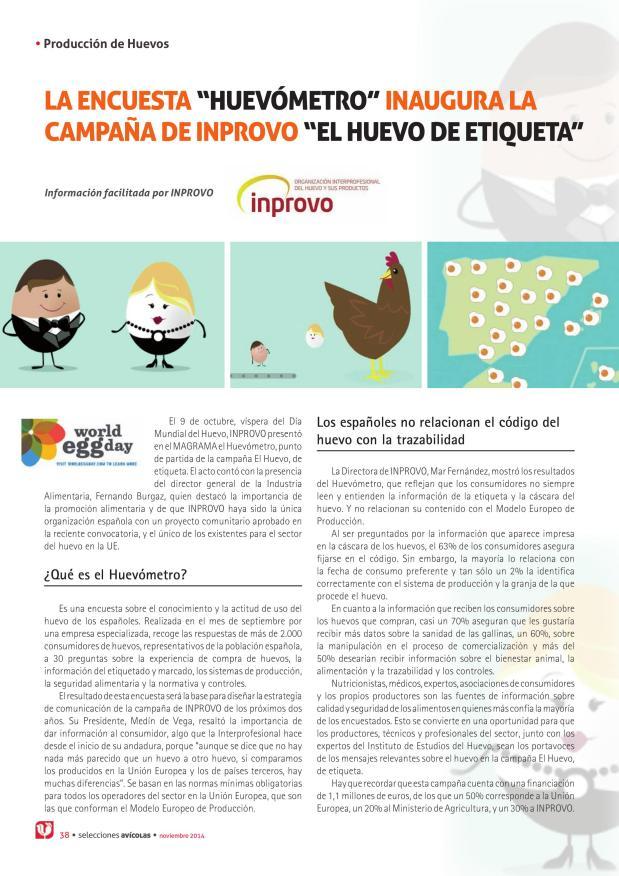 """La encuesta """"huevómetro"""" inaugura la campaña de INPROVO """"El huevos de etiqueta"""""""