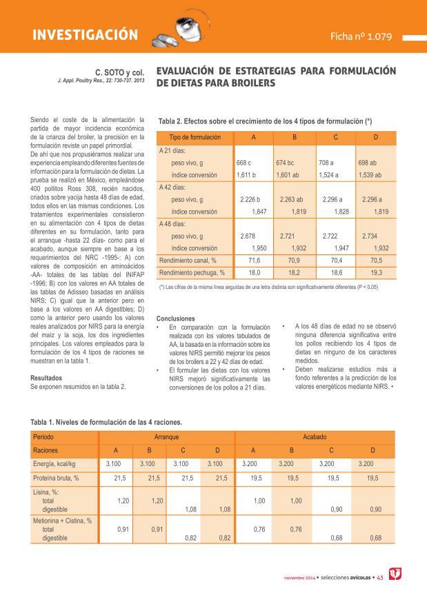 Evaluación de estrategias para formulación de dietas para broilers