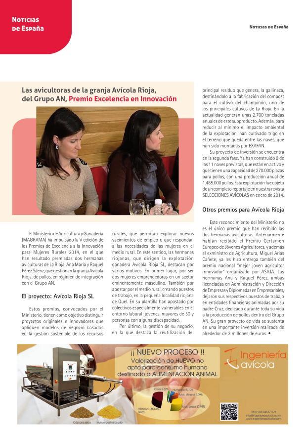 Las avicultoras de la granja Avícola Rioja, del Grupo AN, Premio Excelencia en Innovación