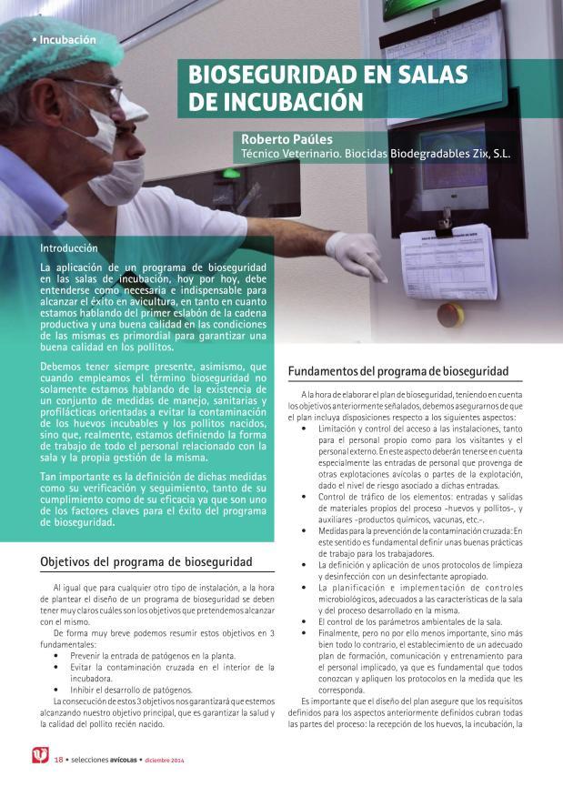 Bioseguridad en salas de incubación