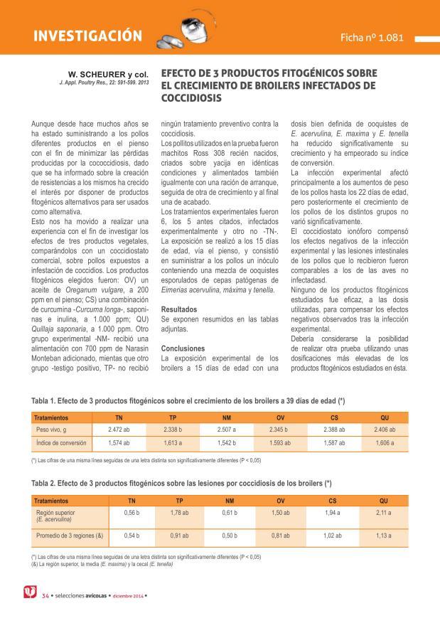 Efecto de 3 productos fitogénicos sobre el crecimiento de broilers infectados de coccidiosis