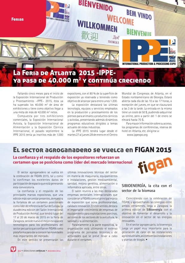 La Feria de Atlanta 2015 -IPPE- ya pasa de 40.000 m2 y continúa creciendo