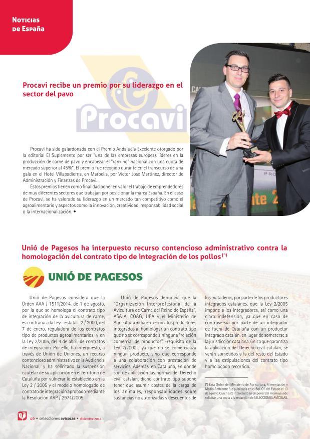 Procavi recibe un premio por su liderazgo en el sector del pavo