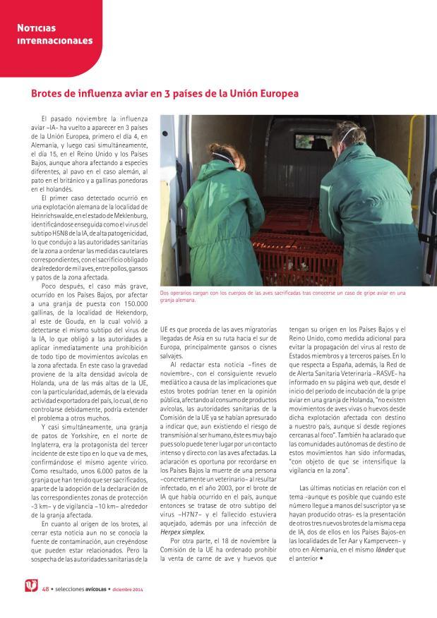 Brotes de influenza aviar en 3 países de la Unión Europea