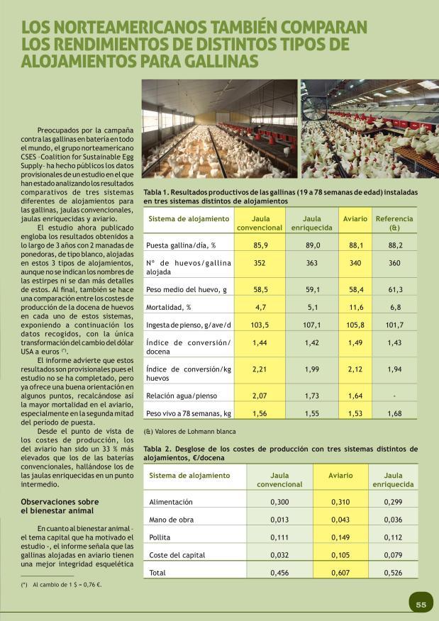Los norteamericanos también comparan los rendimientos de distintos tipos de alojamientos para gallinas