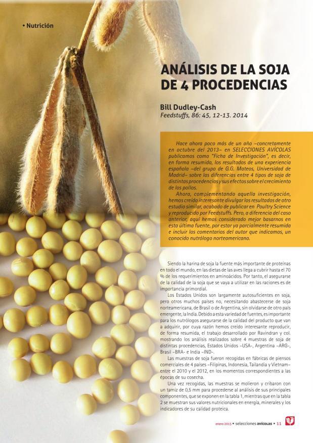 Análisis de la soja de 4 procedencias