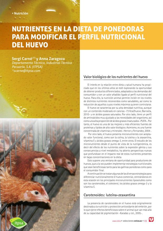 Nutrientes en la dieta de ponedoras para modificar el perfil nutricional del huevo