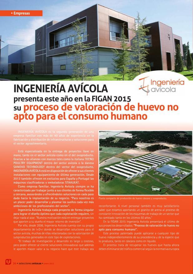Ingeniería Avícola presenta este año en la FIGAN 2015 su proceso de valoración de huevo no apto para el consumo humano