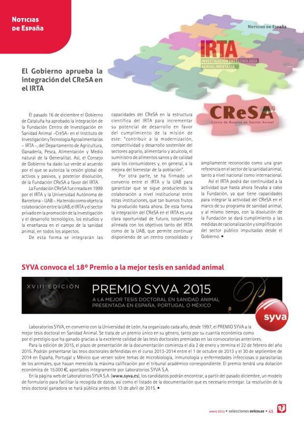 El Gobierno aprueba la integración del CreSA en el IRTA