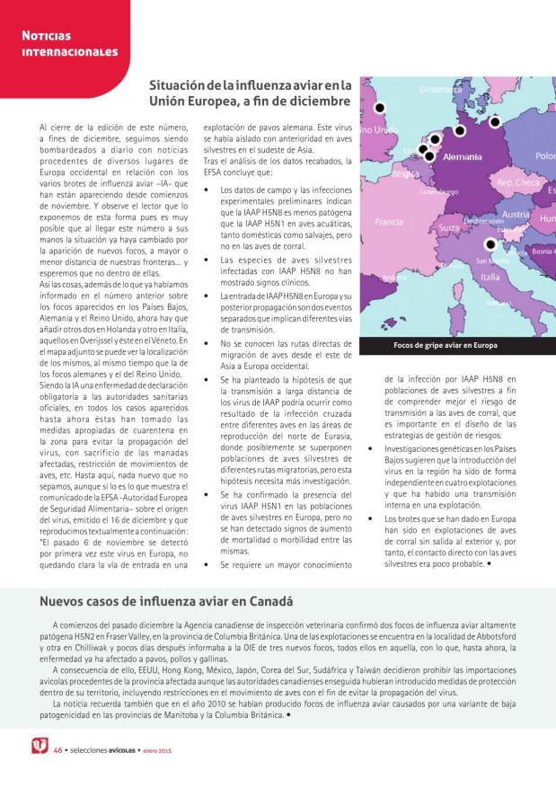 Situación de la influenza aviar en la Unión Europea, a fin de diciembre