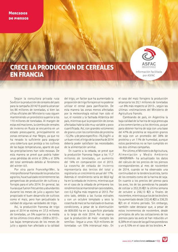 Crece la producción de cereales en Francia