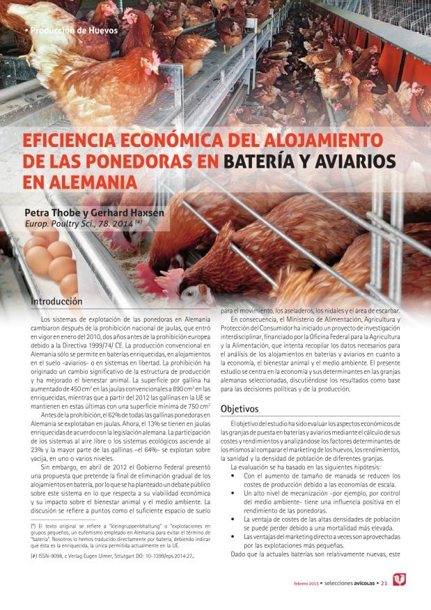 Eficiencia económica del alojamiento de las ponedoras en batería y aviarios en Alemania