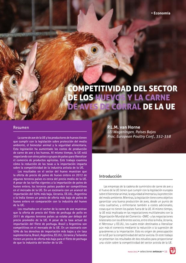 Competitividad del sector de los huevos y la carne de aves de corral de la ue