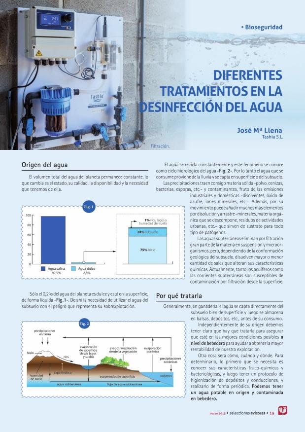 Diferentes tratamientos en la desinfección del agua