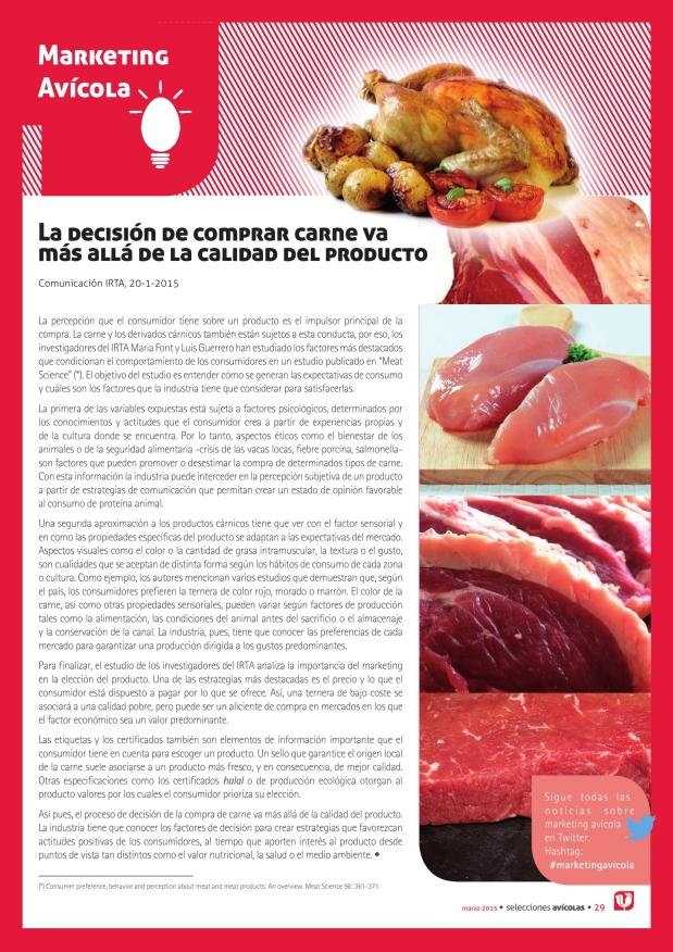 La decisión de comprar carne va más allá de la calidad del producto