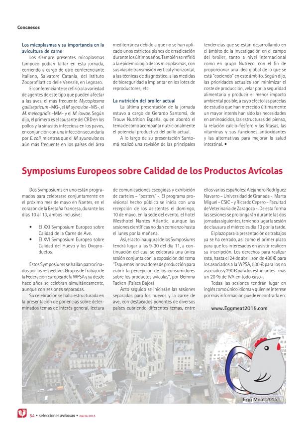 Symposiums Europeos sobre calidad de los productos avícolas