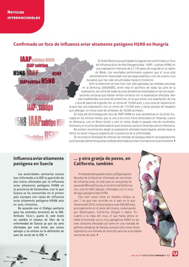 Confirmado un foco de influenza aviar altamente patógeno H5N8 en Hungría