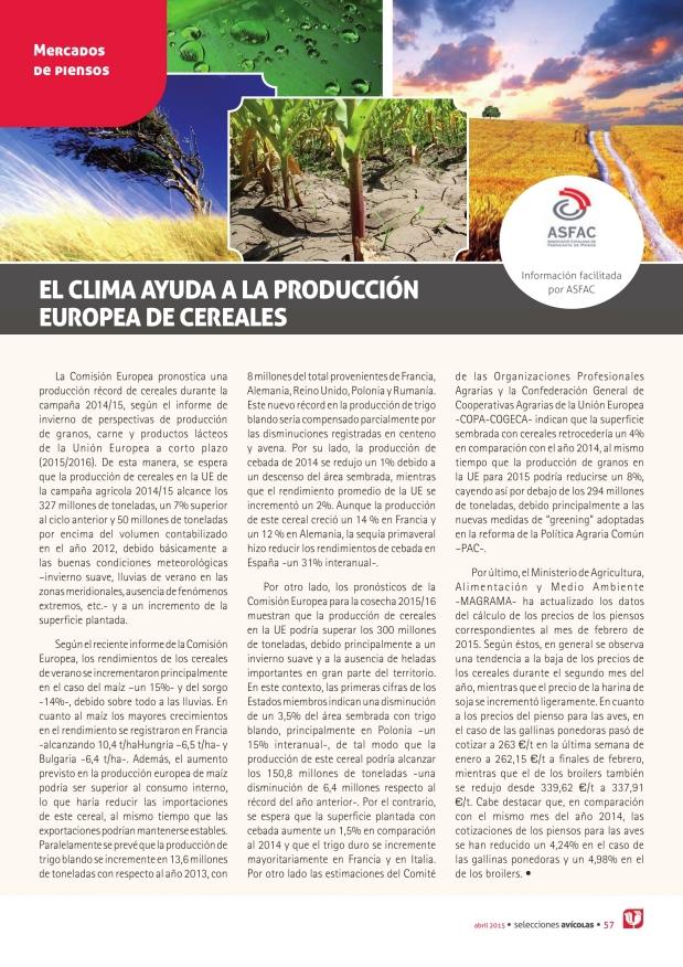 El clima ayuda a la producción europea de cereales