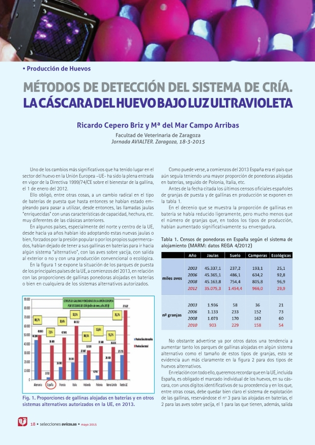 Métodos de detección del sistema de cría. La cáscara del huevo bajo luz ultravioleta