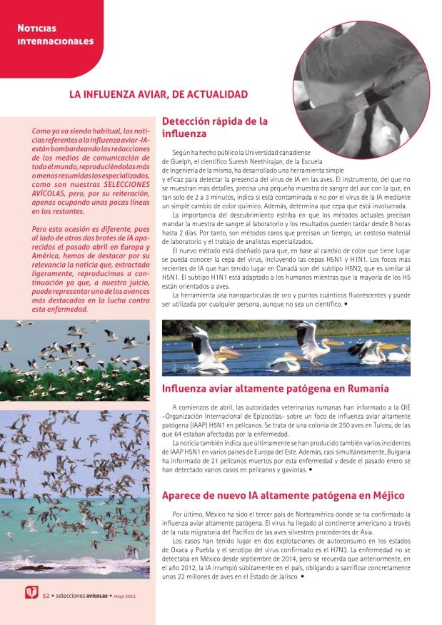 La influenza aviar, de actualidad: Detección rápida de la influenza - Influenza aviar altamente patógena en Rumanía - Aparece de nuevo IA altamente patógena en Méjico