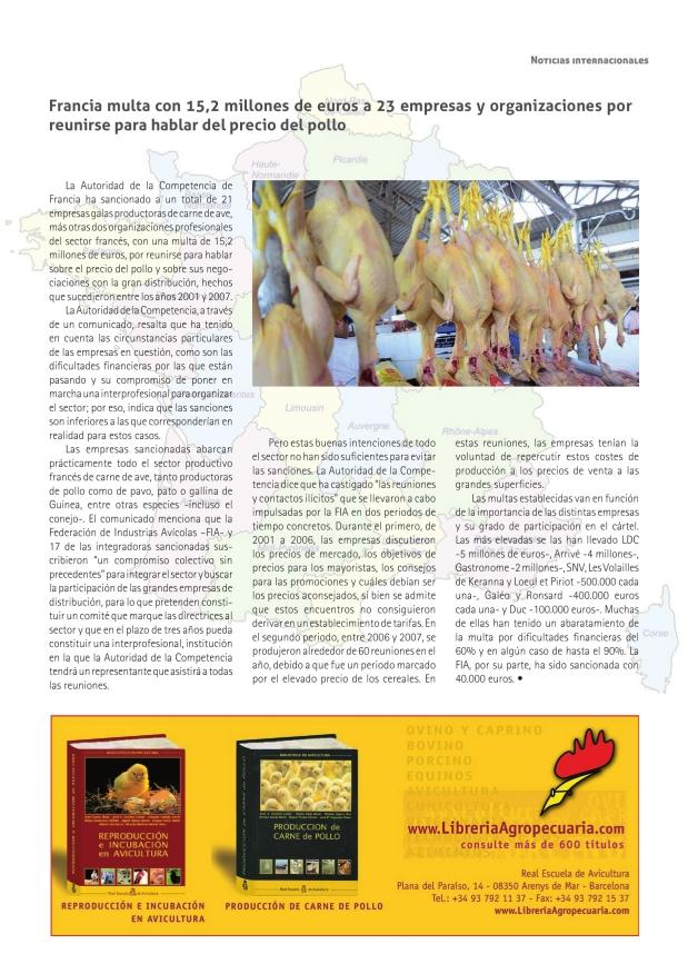 Francia multa con 15,2 millones de euros a 23 empresas y organizaciones por reunirse para hablar del precio del pollo
