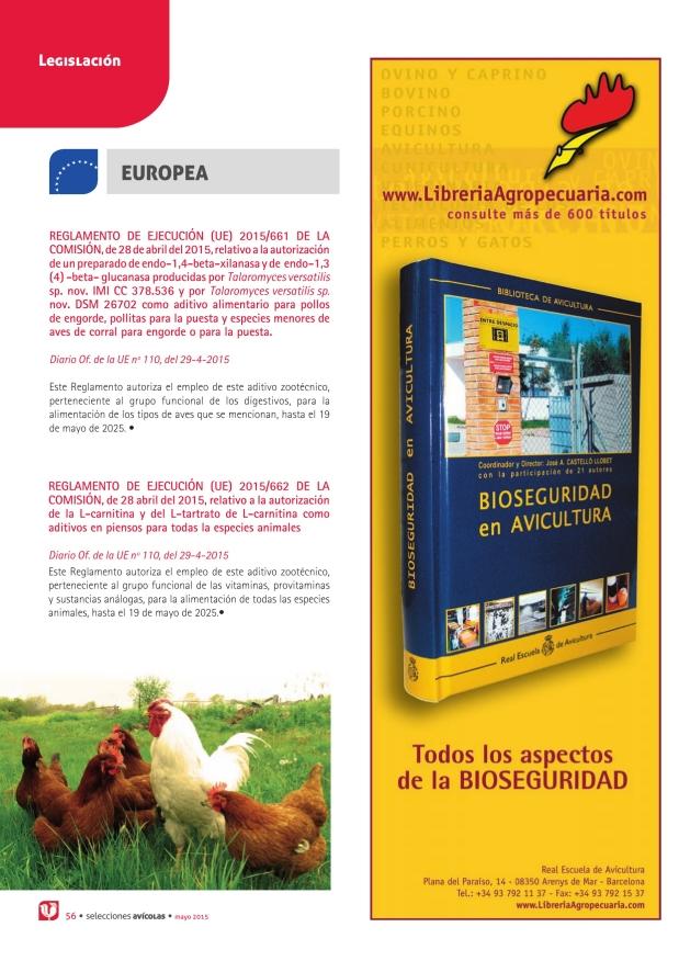 Reglamento de Ejecución (UE) 2015/661 de la Comisión, de 28 de abril del 2015