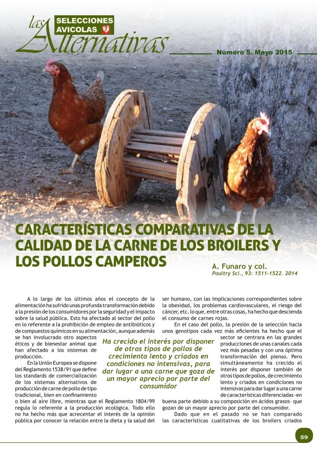 Características comparativas de la calidad de la carne de los broilers y los pollos camperos
