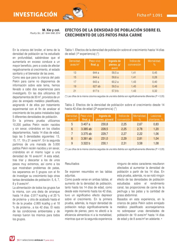 Efectos de la densidad de población sobre el crecimiento de los patos para carne