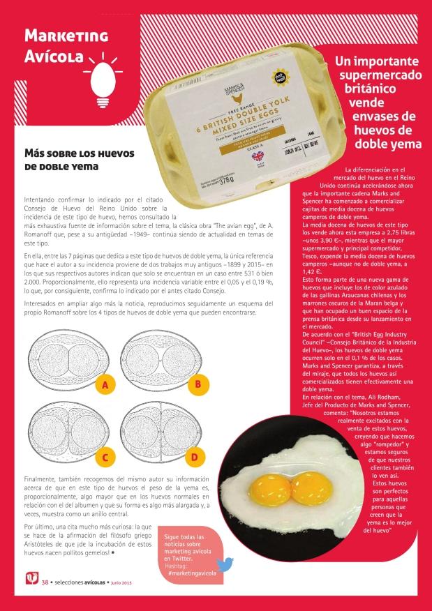 Marketing avícola.  Un importante supermercado británico vende envases de huevos de doble yema
