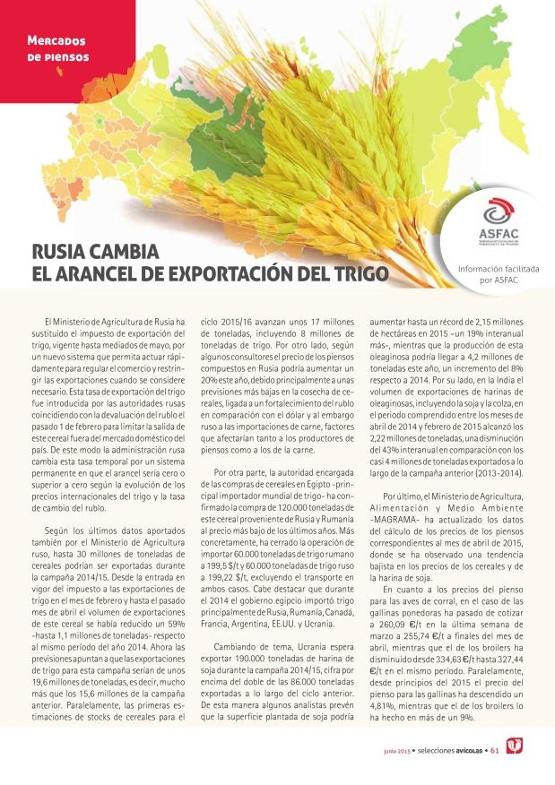 Rusia cambia el arancel de exportación del trigo