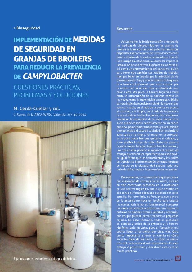 Implementación de medidas de seguridad en granjas de broilers para reducir la prevalencia de Campylobacter
