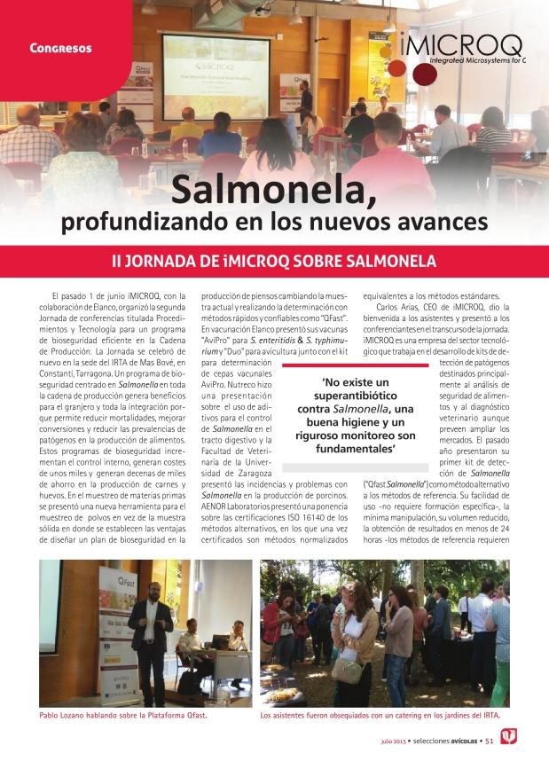 Salmonela, profundizando en los nuevos avances. II Jornada de iMICROQ sobre salmonela