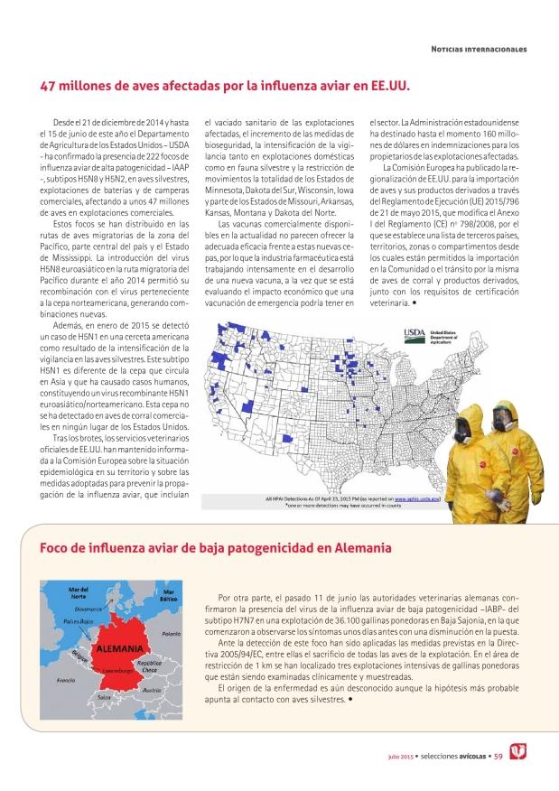 47 millones de aves afectadas por la influenza aviar en EE.UU.