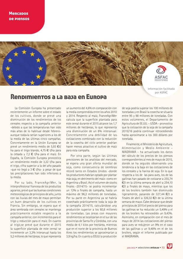 Rendimientos a la baja en Europa