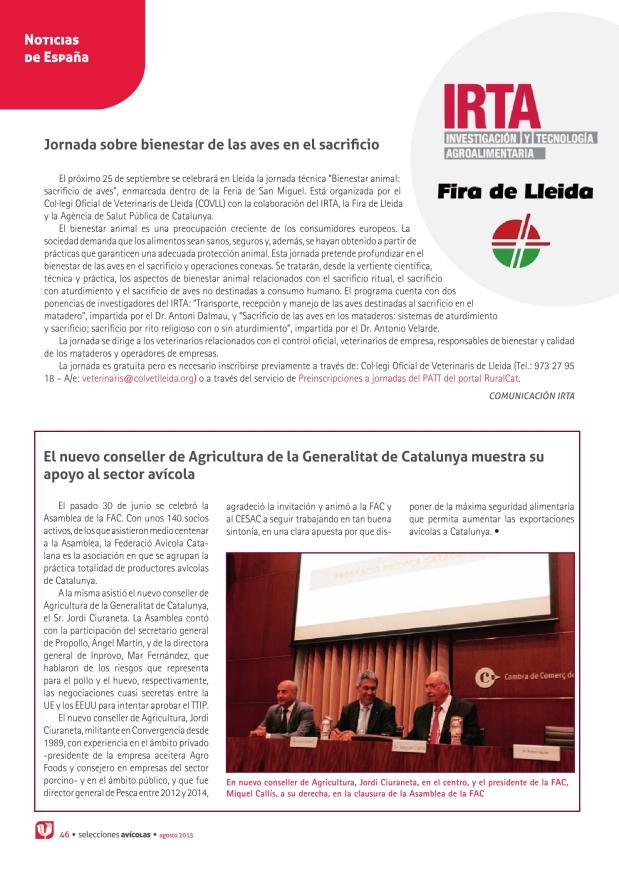 Noticias -Jornada sobre bienestar de las aves en el sacrificio / El nuevo conseller de Agricultura de la Generalitat de Catalunya muestra su apoyo al sector avícola