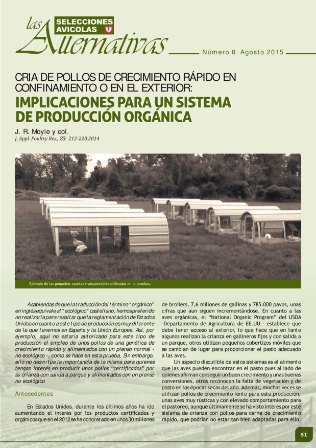 Cria de pollos de crecimiento rápido en confinamiento o en el exterior: implicaciones para un sistema de producción orgánica