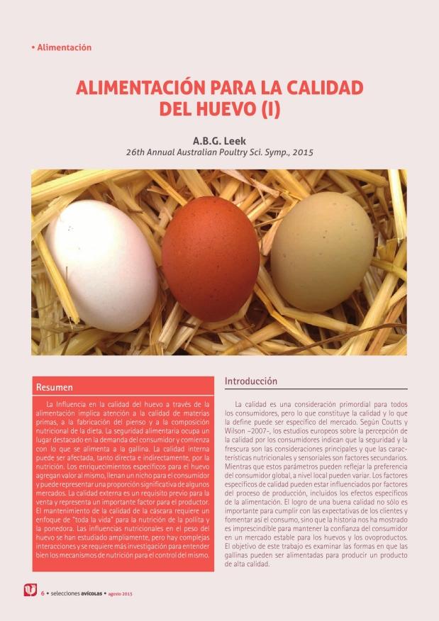 Alimentacion para la  calidad del huevo I