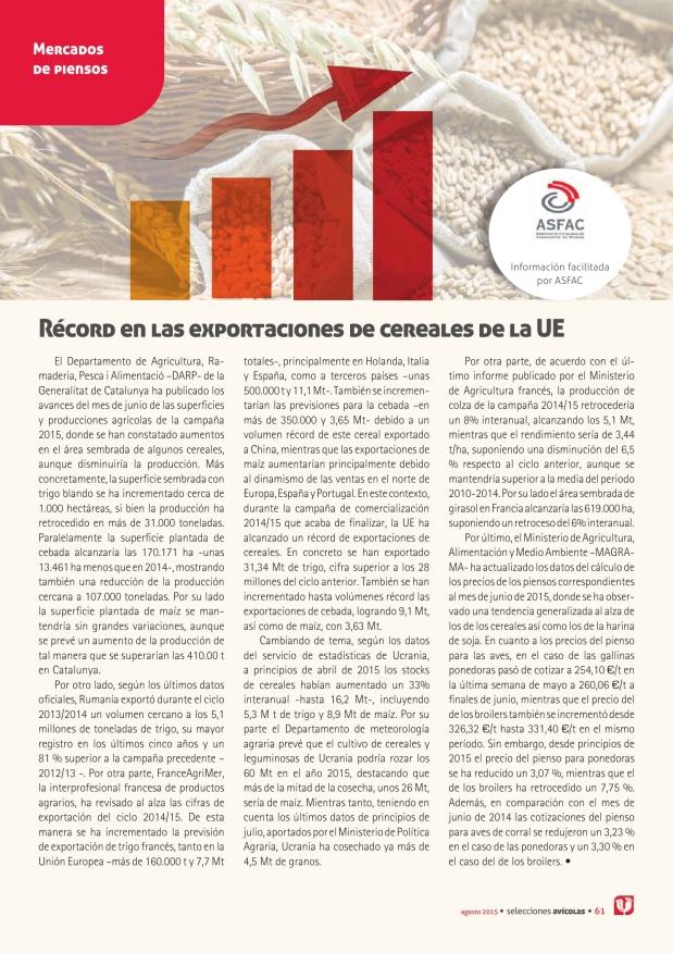 Récord en las exportaciones de cereales de la UE