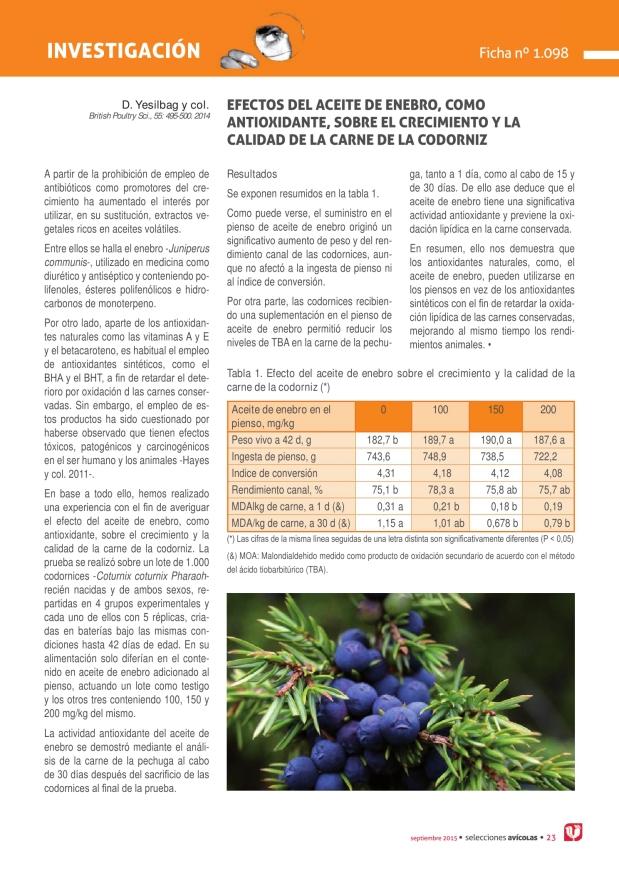 Efectos del aceite de enebro, como antioxidante, sobre el crecimiento y la calidad de la carne de la codorniz