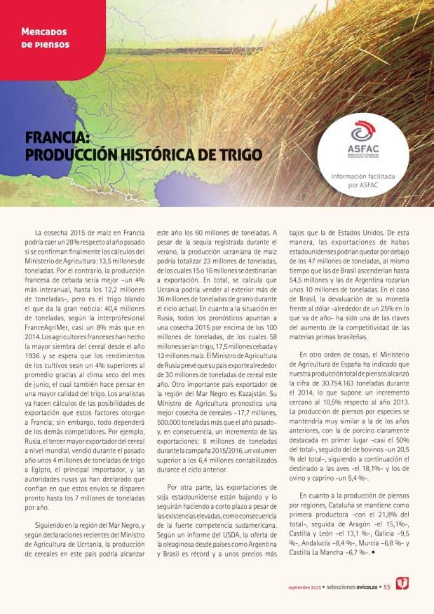 Francia: producción histórica de trigo