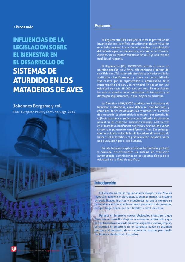 Influencias de la legislación sobre el bienestar en el desarrollo de sistemas de aturdido en los mataderos de aves
