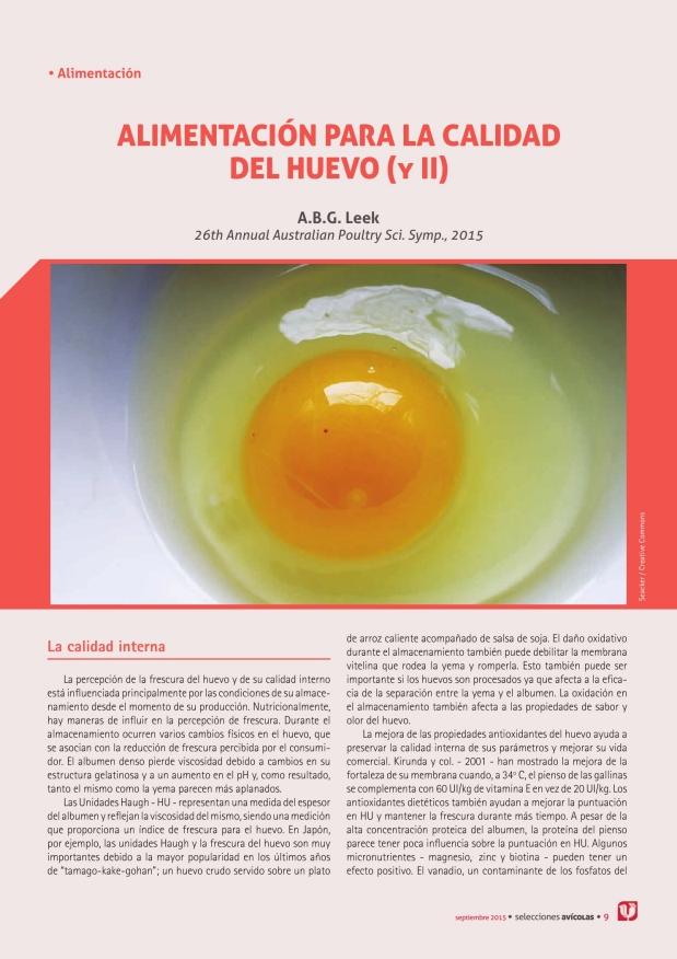 Alimentación para la calidad del huevo (y II)