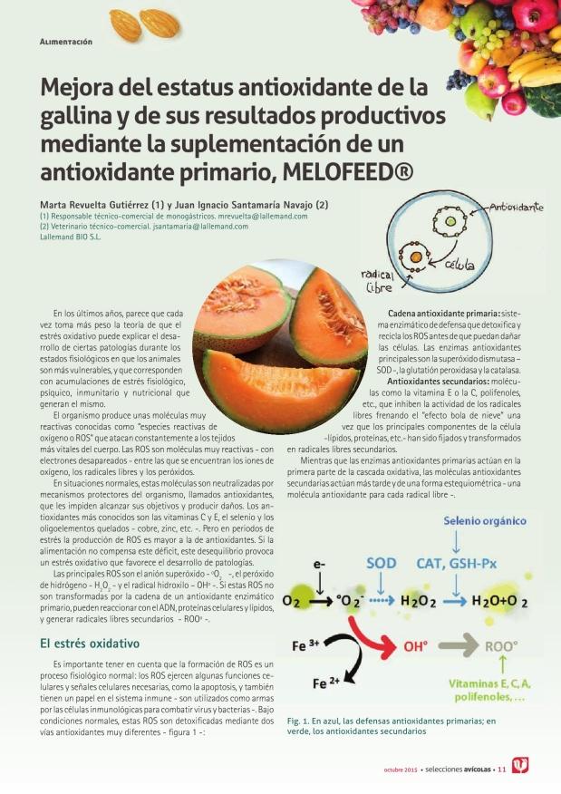 Mejora del estatus antioxidante de la gallina y de sus resultados productivos mediante la suplementación de un antioxidante primario, MELOFEED (R)