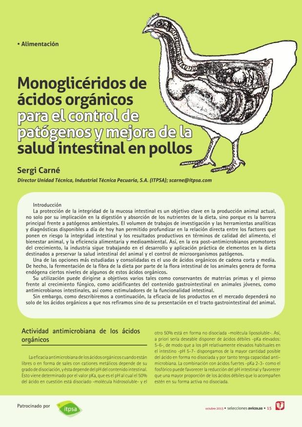 Monoglicéridos de ácidos orgánicos para el control de patógenos y mejora de la salud intestinal en pollos